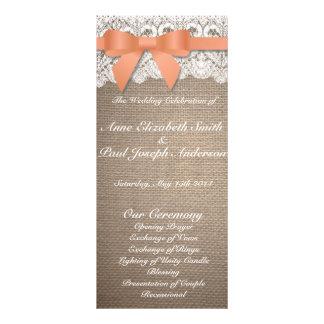 Arpillera anaranjada del arco y programas del boda