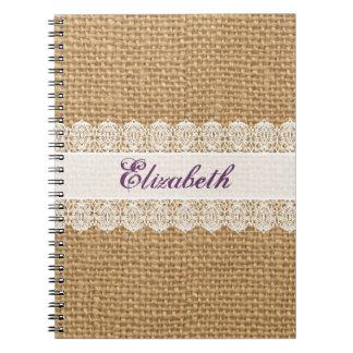 Arpillera con el cordón delicado - monograma elega cuadernos