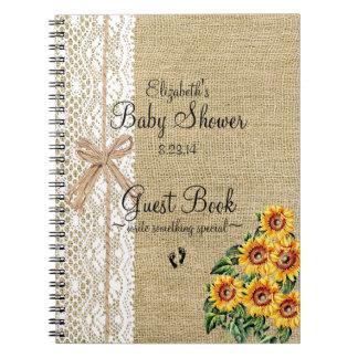Arpillera con el libro de visitas de los girasoles libro de apuntes con espiral