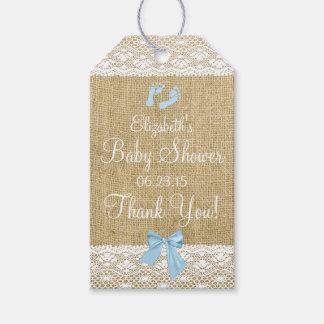Arpillera con imagen del cordón y el arco azul etiquetas para regalos