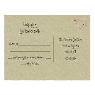 Arpillera, contestación rosada Postcads del boda d Postales
