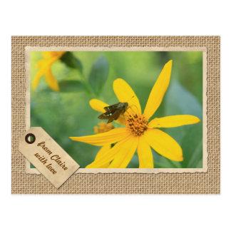 Arpillera de la flor del amarillo de la alcachofa  tarjetas postales