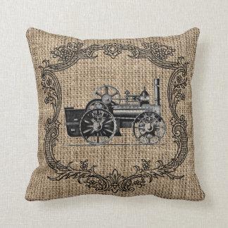 Arpillera de la locomotora del vintage almohada