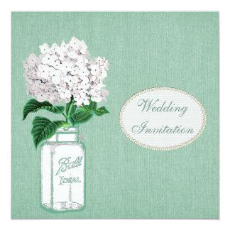 Arpillera de la menta, tarro de albañil y boda del invitación 13,3 cm x 13,3cm