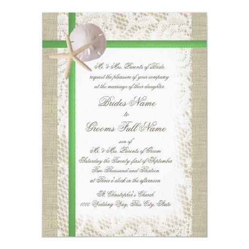 Arpillera de la playa del vintage y boda del invitación 13,9 x 19,0 cm