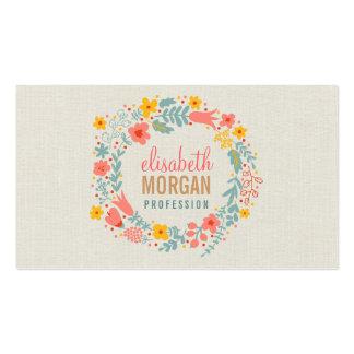Arpillera de lino elegante con la guirnalda floral tarjetas de negocios