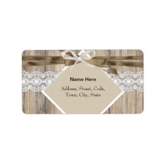 Arpillera de madera 2 del cordón blanco beige etiqueta de dirección