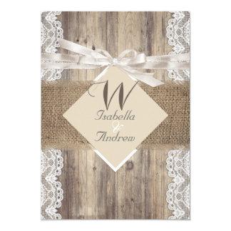 Arpillera de madera 2 del cordón blanco beige invitación 12,7 x 17,8 cm