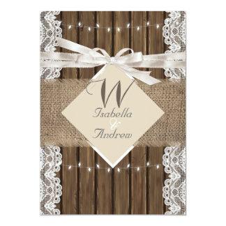 """Arpillera de madera 5 del cordón blanco beige invitación 5"""" x 7"""""""