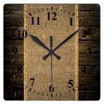 Arpillera de madera de la mirada del vintage relojes
