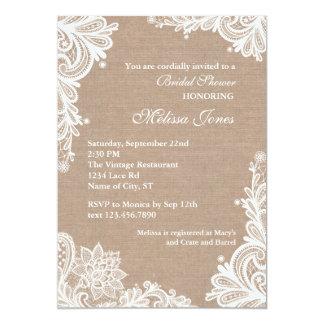 Arpillera del vintage e invitación nupcial de la invitación 12,7 x 17,8 cm