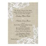 Arpillera del vintage y boda del cordón invitación personalizada