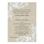 Arpillera del vintage y boda del cordón invitación 12,7 x 17,8 cm