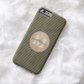 Arpillera negra del monograma del modelo del funda barely there iPhone 6