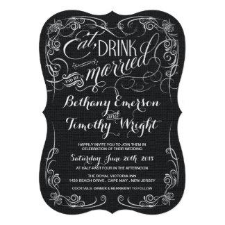 Arpillera negra rústica cortada con tintas casando anuncios personalizados
