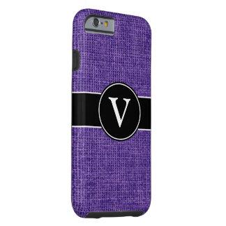 Arpillera púrpura con monograma funda de iPhone 6 tough