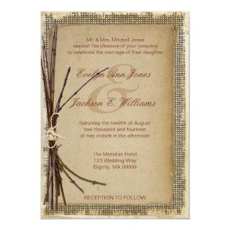 Arpillera, ramitas y boda de la guita invitación 12,7 x 17,8 cm