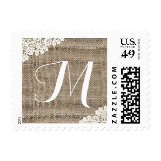 Arpillera rústica del monograma y boda del cordón timbres postales