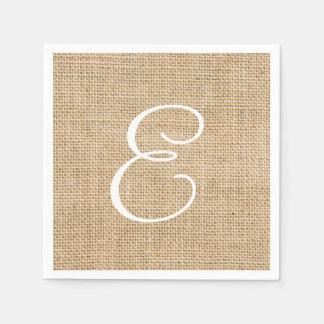 Arpillera rústica que casa el monograma simple servilleta desechable