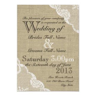 Arpillera rústica y boda del país del cordón invitación 12,7 x 17,8 cm