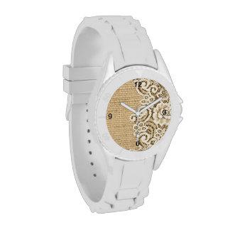 arpillera rústica y cordón del país occidental reloj de mano