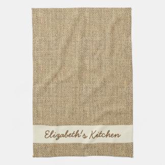Arpillera simulada rústica personalizada toallas de mano