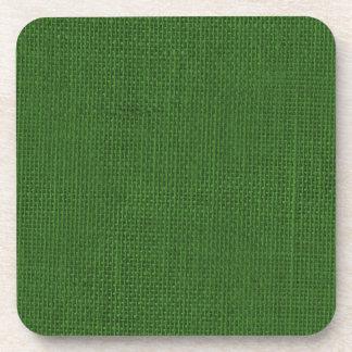 Arpillera verde del navidad posavasos de bebida