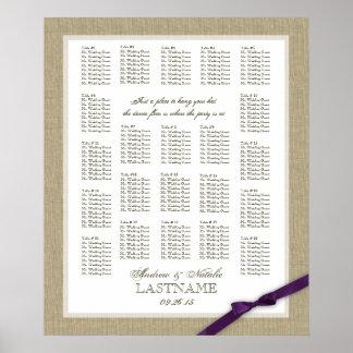 Arpillera y carta púrpura del asiento del boda del posters