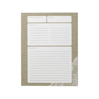 Arpillera y cordón de la página de la receta libreta para notas