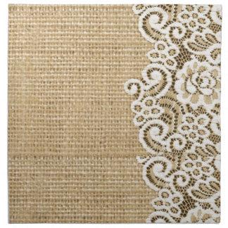 arpillera y cordón girlycountry rústicos servilleta de papel