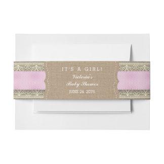 Arpillera y cordón rosados rústicos cintas para invitaciones