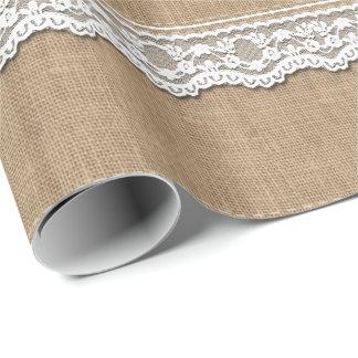 Arpillera y cordón rústicos papel de regalo