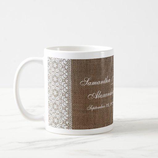 Arpillera y cordón simples taza de café