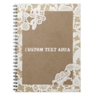 Arpillera y diario rústico elegante del cordón libro de apuntes