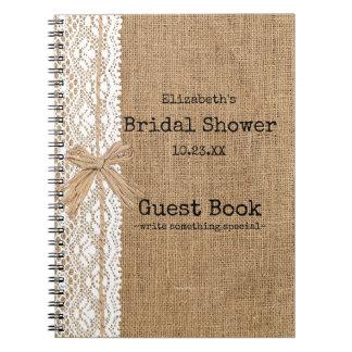 Arpillera y libro de visitas nupcial de la ducha libros de apuntes