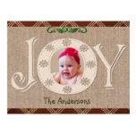 Arpillera y tarjeta roja de la foto del navidad de postal