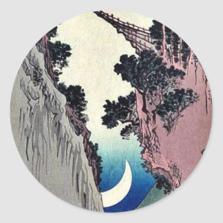 Arquee la luna formada por Ando Hiroshige Ukiyoe Pegatina Redonda