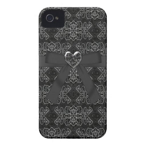 Arquee y la plata y el iPhone negro 4 del corazón  iPhone 4 Case-Mate Fundas