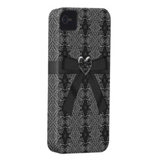 Arquee y plata del corazón de la joya y caja negra Case-Mate iPhone 4 protector
