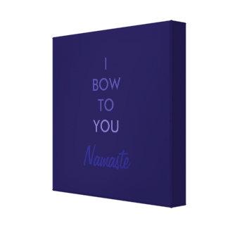 Arqueo a usted, Namaste, inspirado azul púrpura Impresión En Lona Estirada