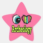 Arqueología brillante del amor del corazón I del o Calcomania Forma De Estrella Personalizadas