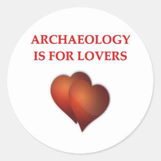 arqueología pegatinas redondas