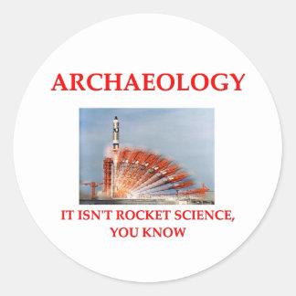 arqueólogo etiqueta redonda