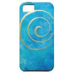 Arquero espiral de oro de Philip del infinito azul iPhone 5 Case-Mate Fundas