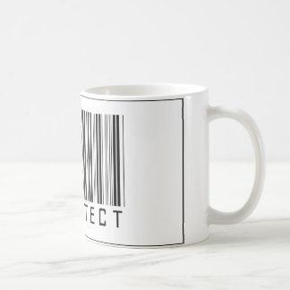 Arquitecto del código de barras taza básica blanca