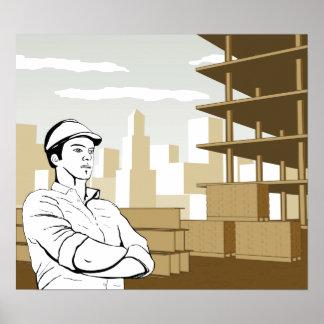 Arquitecto del constructor del ingeniero póster