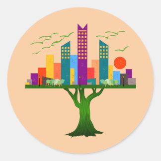 Arquitectura colorida de la ciudad del árbol pegatina redonda