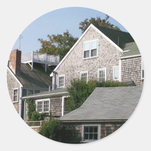 Arquitectura de Nantucket Pegatinas Redondas