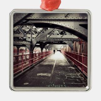 Arquitectura de New York City - puente de Adorno Navideño Cuadrado De Metal