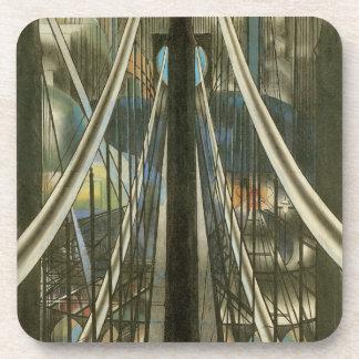 Arquitectura de Nueva York del vintage, puente de Posavasos De Bebida